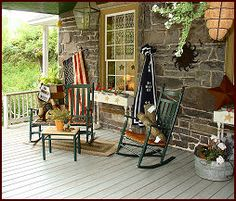 Love this deep porch, they don't seem to build them like this anymore. Very warm & cozy!