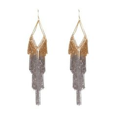Marie Laure Chamorel Sterling Silver and Gold Fringe Earrings