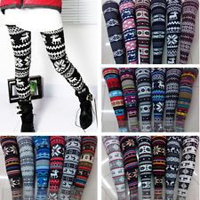 under $5, cheap, Autumn Warm Winter Women's Nordic Deer Snowflake Knitted Leggings Tights Pants
