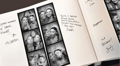 photo booth wedding guest book, love the booth idea. its a keepsake for both!