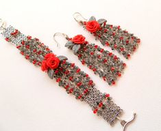 #Roses  #Red  #Grey  Flower jewelry  #Handmade by insoujewelry on Etsy