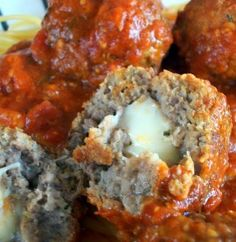Recipe For  Mozzarella Stuffed Meatballs