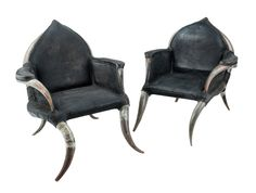 Perhaps the ugliest chairs I've seen this year?    A pair of unusual cow horn and leather chairs, leather chairs, French, circa 1930. 84cm high, 82cm wide.