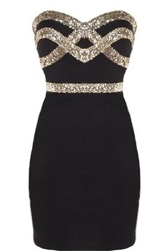 Black Diamond Dress: Features an ultra feminine sweetheart neckline, glittering gold crossover design to the bodice, figure-flattering sequin waistband, and a sexy body-conscious silhouette to finish.