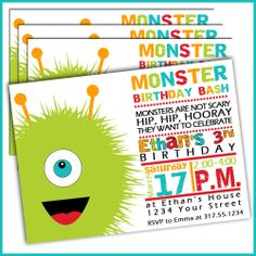 Monster Birthday Invitations for Boys Set of 15 by LullabyLoo - Ky 4th Birthday