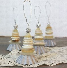 Vintage Inspired Button and Tart Tin Christmas Tree Ornaments-ClothandPatina - Etsy ( this is sold  but great inspiration)