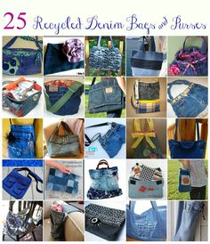 25 Denim Bags and Purses Made From Recycled Jeans   http://betweennapsontheporch.net/25-denim-bags-purses-made-from-recycled-jeans/ de jean, jean purses, denim bags, denim bag tutorial, jean bag, denim jeans bag, blue jean, bag tutorials, bags and purses tutorial