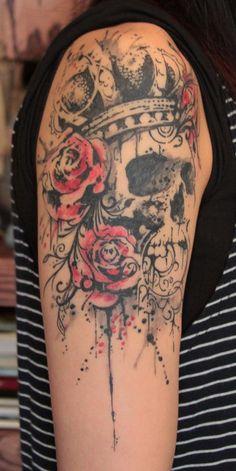 flower with skull tattoo | Paradise Tattoo Gathering : Tattoos : Flower Rose : The Kings Skull