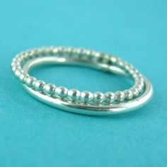 Sterling Silver Stacking Ring Set - Beaded and Plain Silver Stacking Rings