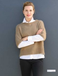 Gorgeous Elbow Sleeve Ladies' Sweater, Taupe/Hazelnut, perfect to layer with a #Breton #Top