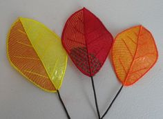 Pam's Embroidered Mylar Leaves 10-12