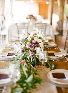 Greenery and Purple Flower Centerpiece | photography by http://www.msp-photography.com