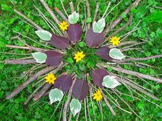 Encourage preschoolers to create impermanent nature art with items found on a nature walk. (Credit: The Chocolate Muffin Tree)