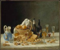 """John F. Francis, """"Still Life with Wine Bottles and Basket of Fruit."""" Museum of Fine Arts, Boston."""