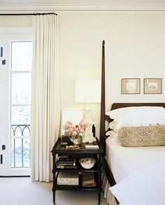 simple white drapes for master and add tape later with color scheme.... // Burnham Design