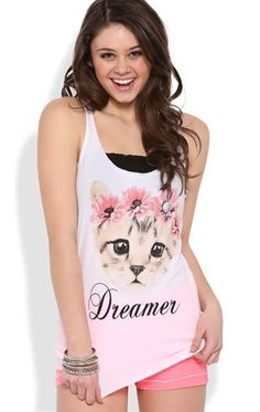 Deb Shops #racerback tank top with dreamer #cat screen $8.00