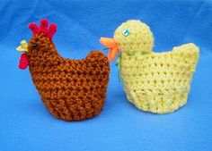Crocheted Chicken and Duck Egg Cozies for Easter