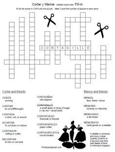 Printable Spanish FREEBIE of the Day: Cortar y Menos related word sets Fill-in Puzzle from PrintableSpanish.com