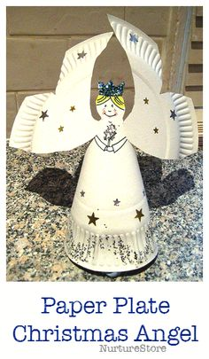 Easy paper plate angel Christmas craft for kids - easy to make and so pretty!