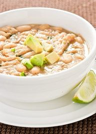 """Is it a cold day outside and you need a great hearty meal thats is healthy and will touch your bones with warmth?! Then make the """"Skinny Mom Skinny White Chicken Chili"""" Its so delicious!"""