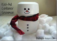 holiday, christmas crafts, gift ideas, koolaid snowman, kool aid container crafts, christma craft, diy, craft ideas, kid craft