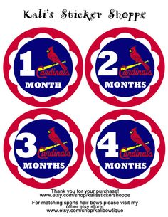 St Louis Cardinals Baby Monthly Onesie by KalisStickerShoppe, $10.00
