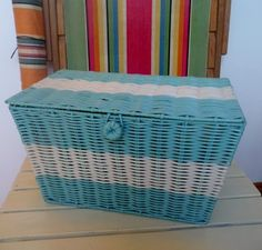 Bicycle Basket - Retro Style - Aqua Cream - NEW, £21.95