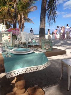 The palm trees and blue skies at our Fall 2014 collection shoot were the perfect pieces of decor for a beach affair! #davidsbridal #fall2014