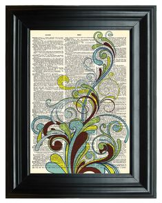 VINTAGE DICTIONARY PRINT, dictionary page, Upcycled dictionary art print, Abstract Floral Art design 8.25x11.25 num. 23. $9.50, via Etsy.