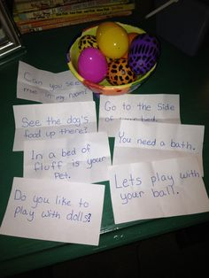 "A new reading activity for Abby: ""Reading Egg Scavenger Hunt"" - Inside each Easter egg is a sentence built from her sight word list. Each sentence is a clue to where she could find the next Easter egg."