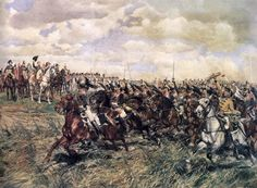"""Battle of Friedland, 1807"" by Ernest Meissonier. Napoleon with his general staff salutes the French 12th Cuirassier regiment who charge by during the battle of Friedland in 1807."