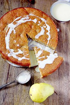 Pear Cake with Brandy Creme Anglaise