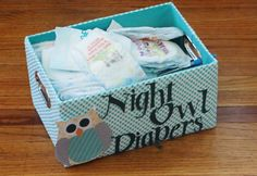 Baby shower games! Guest write messages on the diapers for late night changes. #owl #diapers