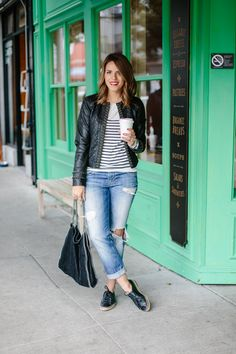 Leather jacket, boyfriend jeans, and brogues