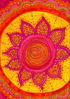 warm colors, orang, art, doodl, summer colors, sun, flower, bright colours, mandala