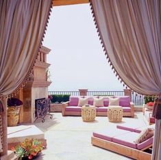 My balcony is definitely large enough for this, and I also love - and need - curtains so this would be perfect.