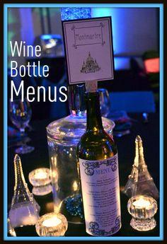 Wine bottle menu idea.