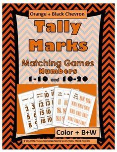 Tally Marks Matching Games ( in seasonal  Orange + Black Chevron Font)