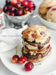 Cherry Nutella Scones | www.kitchenconfidante.com  Popping with fresh cherries and with a dollop of Nutella, these irresistible scones are good enough for dessert.