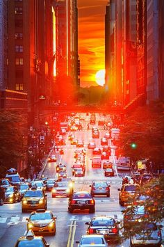 Amazing Sunset NYC by Janny Dangerous.  Kind of makes driving in the city look relaxing!
