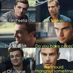 Divergent and Hunger Games funny. Peeta Tobias Four
