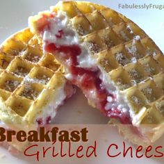 Breakfast Grilled Cheese. (frozen waffles, cream cheese, and jam) MY FAVE!