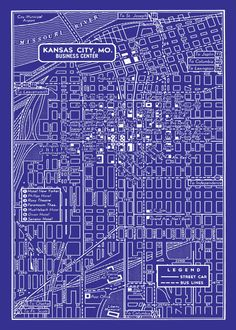 1949 vintage map of downtown kansas city.