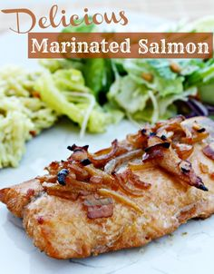 Delicious Marinated Salmon - Ingredients: 1 Tablespoon packed brown sugar,  1 Tablespoon butter or margarine, melted, 1 Tablespoon olive or vegetable oil, 1 Tablespoon honey, 2 Tablespoons soy sauce, 2 Tablespoons of Lipton Onion Soup Mix, 1 clove garlic, finely chopped, 1 large salmon fillet (about 2 lb), cut into 8 pieces