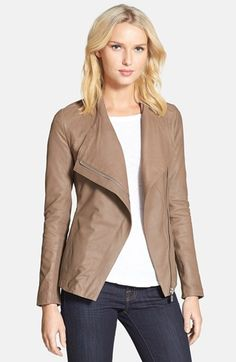 Elie Tahari 'Constance' Draped Collar Leather Peplum Jacket available at #Nordstrom
