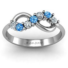Birthstone Infinity Ring ~ alternate his and hers and engrave anniversary date. <3