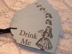 8 Blue Moon Alice in Wonderland Drink Me Tags