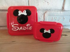 Personalized Minnie Mickey Mouse Sandwich and Snack Lunch Container Set Reusable Back to School Summer Camp vinyl project, mickey mouse, camp vinyl, silhouett project, back to school