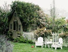 picket fences, dream, english cottages, chicken coops, potting sheds, little gardens, garden cottage, garden houses, little cottages
