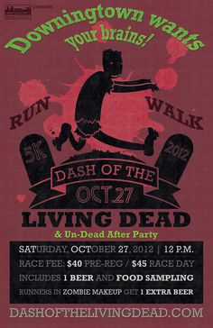 Dash of the Living Dead poster for the Downingtown Main Street Association.